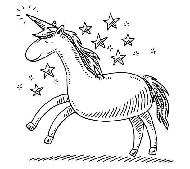 unicorn fantasy animal drawing - unicorn line drawings stock illustrations, clip art, cartoons, & icons