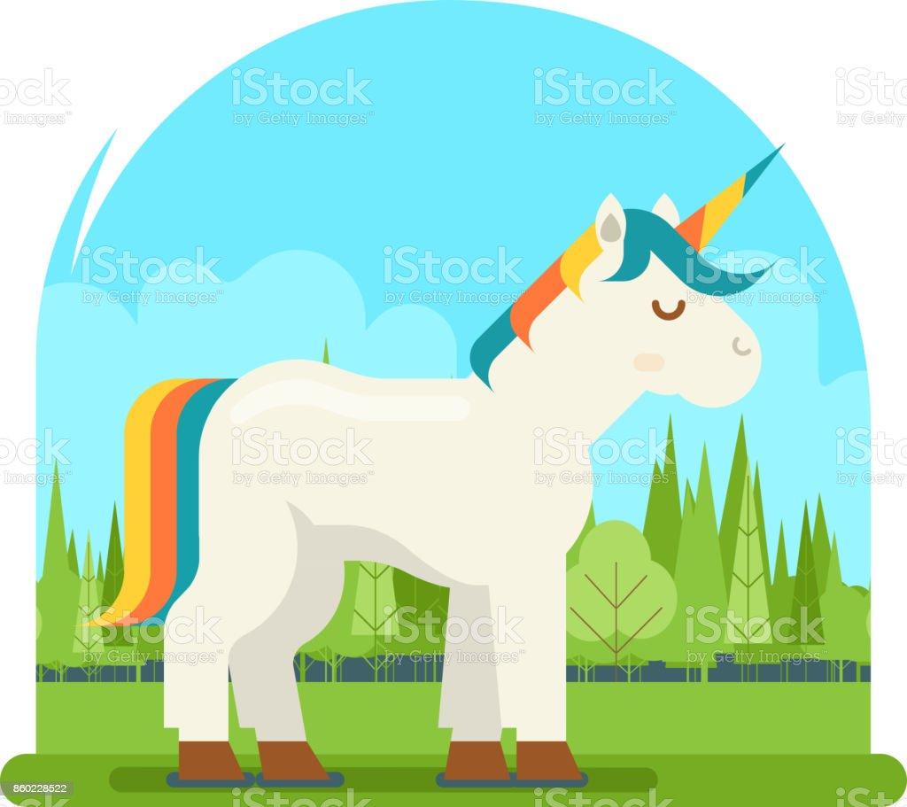 Einhorn Fantasy Pferd Holz Hintergrund Cartoon Charakter Flache ...