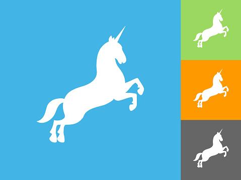 Unicorn  Flat Icon on Blue Background