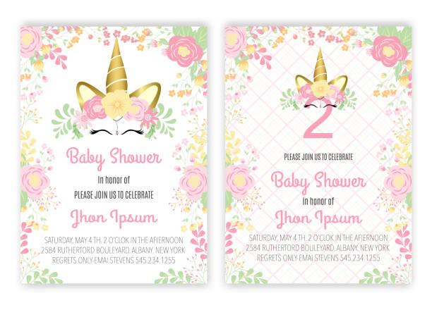 Unicorn floral unicorn decor card baby shower. Unicorn floral unicorn decor card baby shower. baby shower stock illustrations