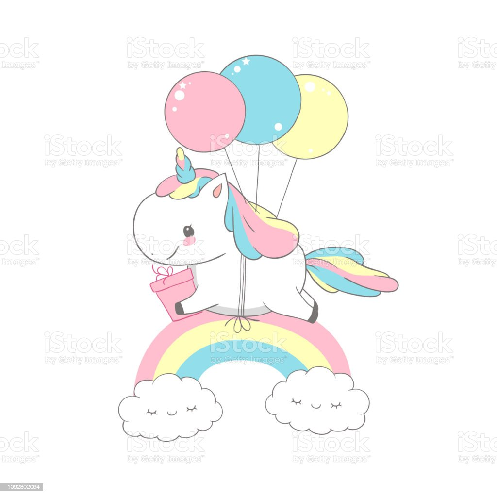 Unicorn Flying Balloons Over Rainbow Birthday Card Happy