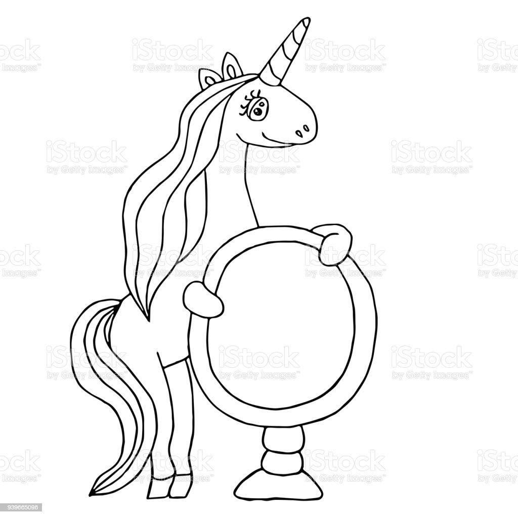 Tek Boynuzlu At Boyama Kitabı Için Stok Vektör Sanatı Animasyon