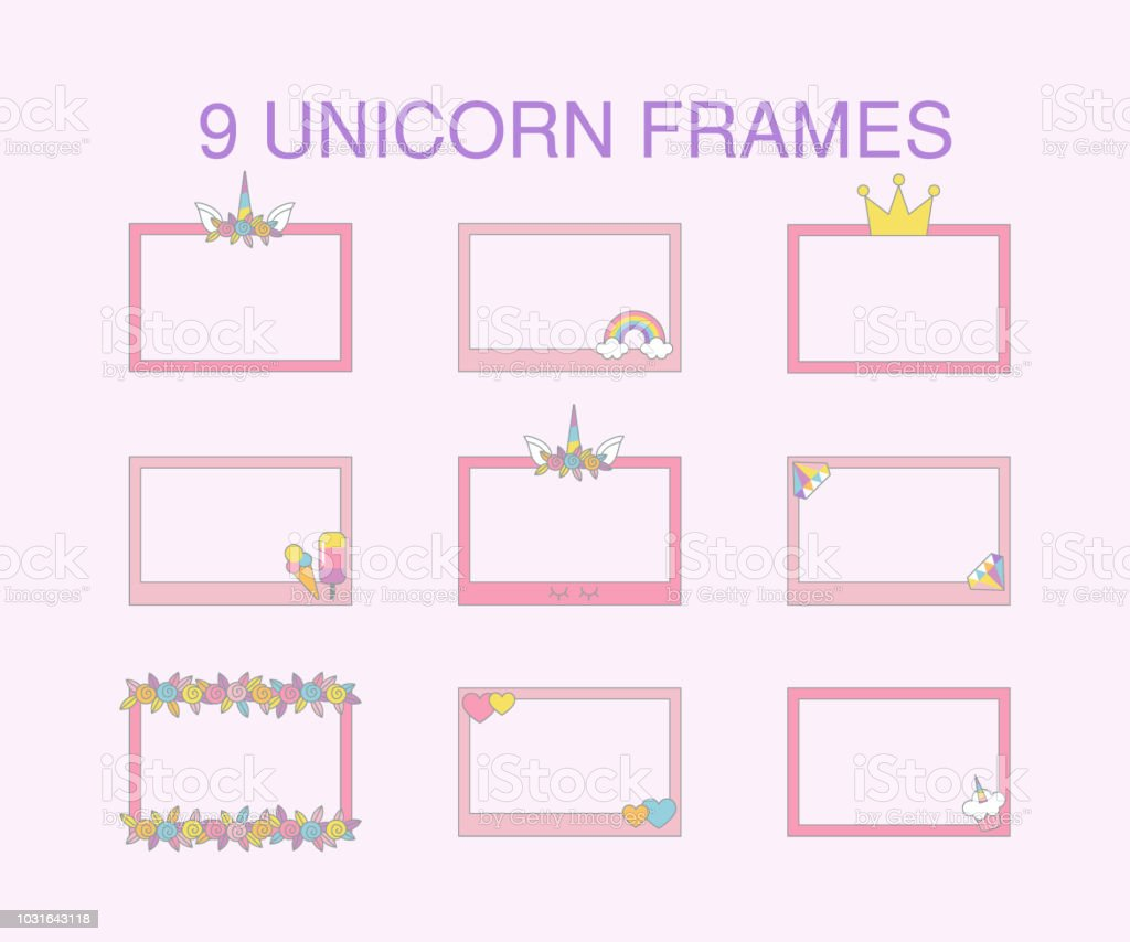 9 unicorn frames typographic vector design for greeting birthday 9 unicorn frames typographic vector design for greeting birthday invitation card isolated text filmwisefo