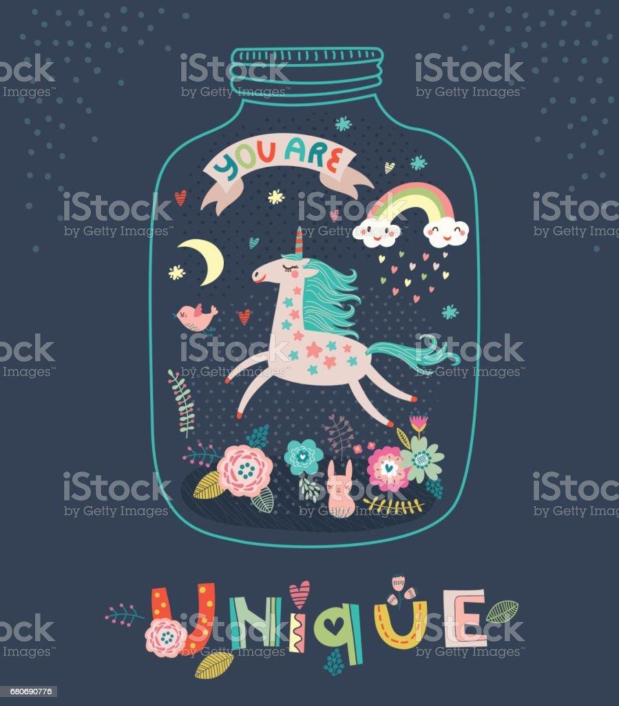 Unicorn. Greeting card