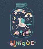 Unicorn. Greeting card Illustration
