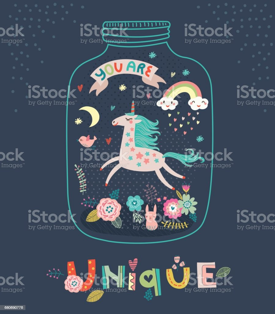 Unicorn. Greeting card vector art illustration