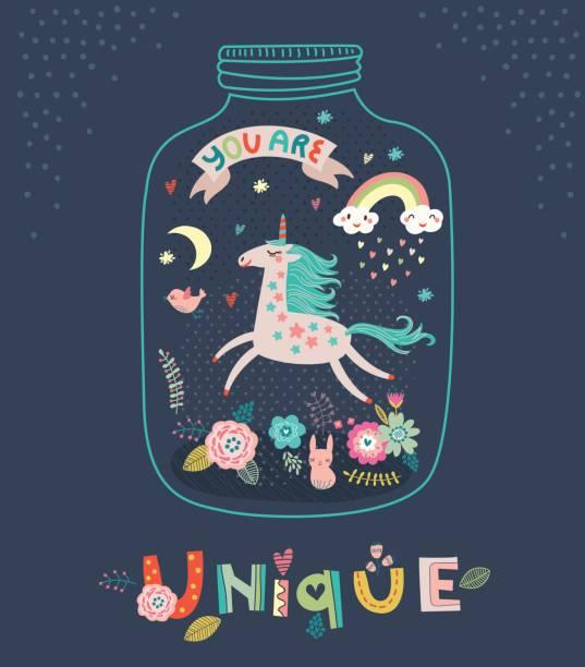 ilustrações de stock, clip art, desenhos animados e ícones de unicorn. greeting card - crianças todas diferentes
