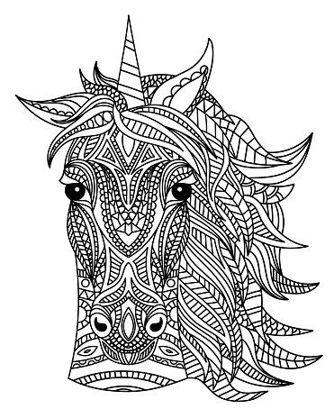 Unicorn head coloring book illustration. Black and white lines. Print for t-shirts and coloring books.