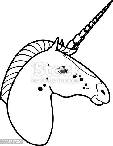 Ilustración de Cabeza De Unicornio Para Colorear Página y más banco ...