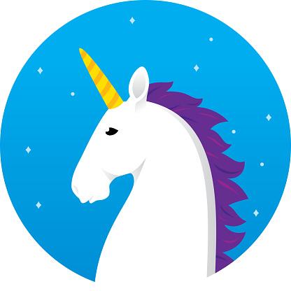 Unicorn Head Icon Flat