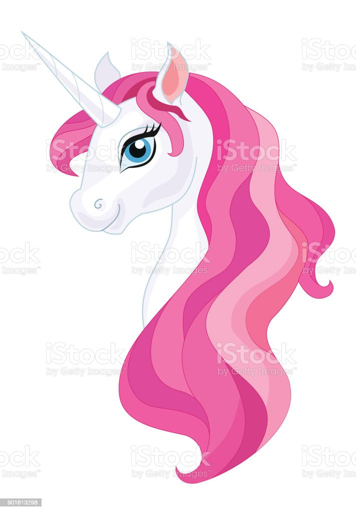 Unicorn Head Isolated On White Background Vector