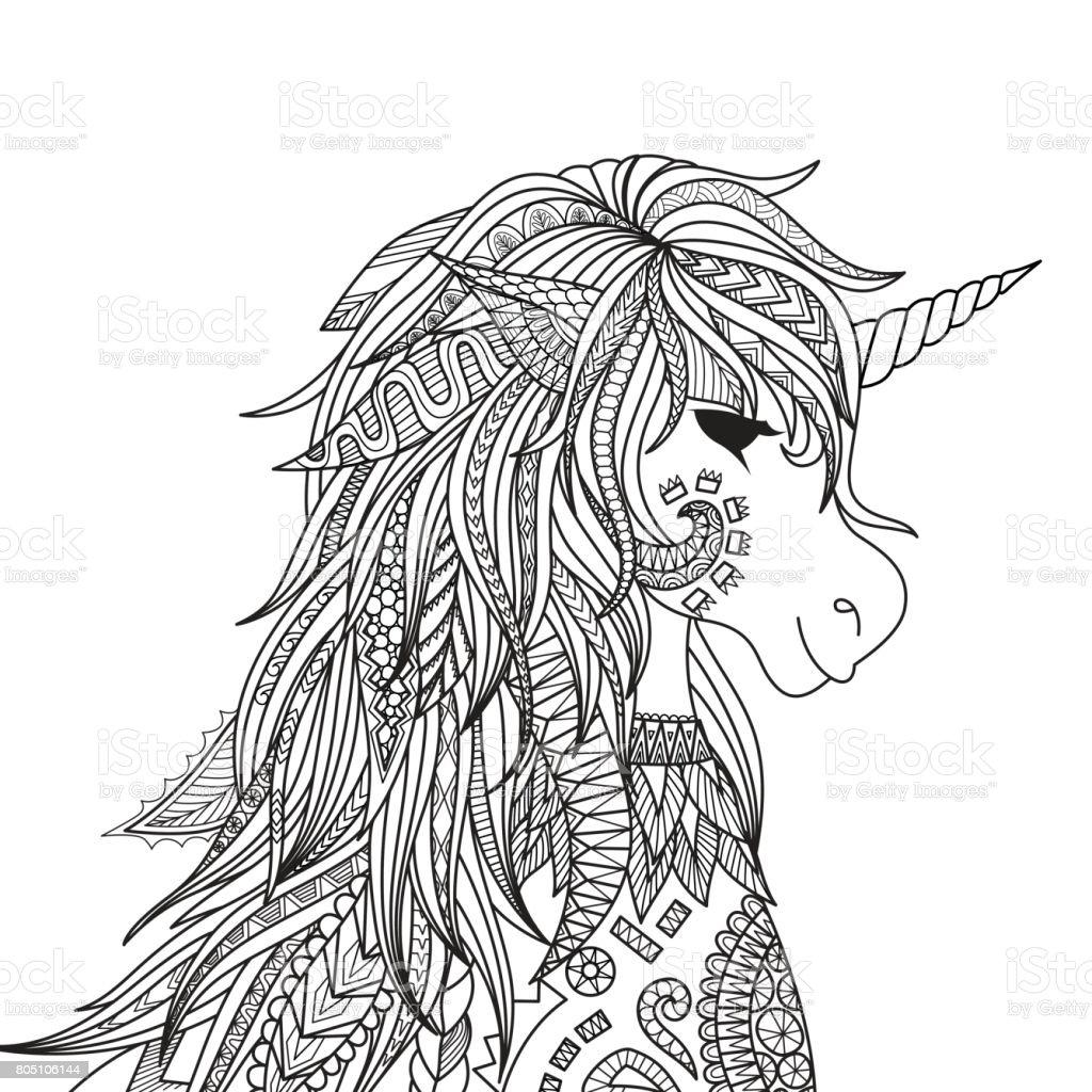 Tek Boynuzlu At Kafasi Stok Vektor Sanati Animasyon Karakter Nin