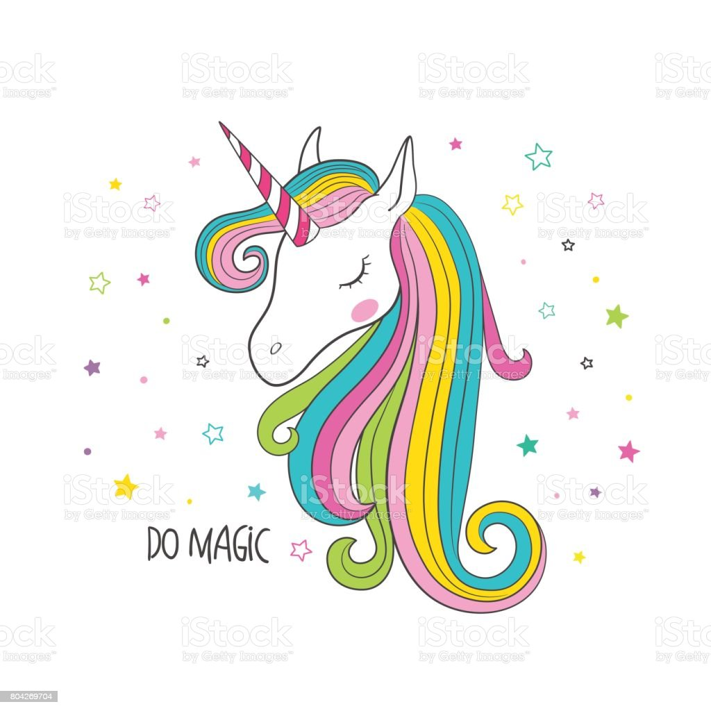 Unicorn head. Vector illustration for clothing vector art illustration