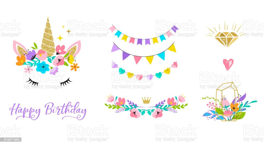 Unicorn head with flowers - card and shirt design vector art illustration