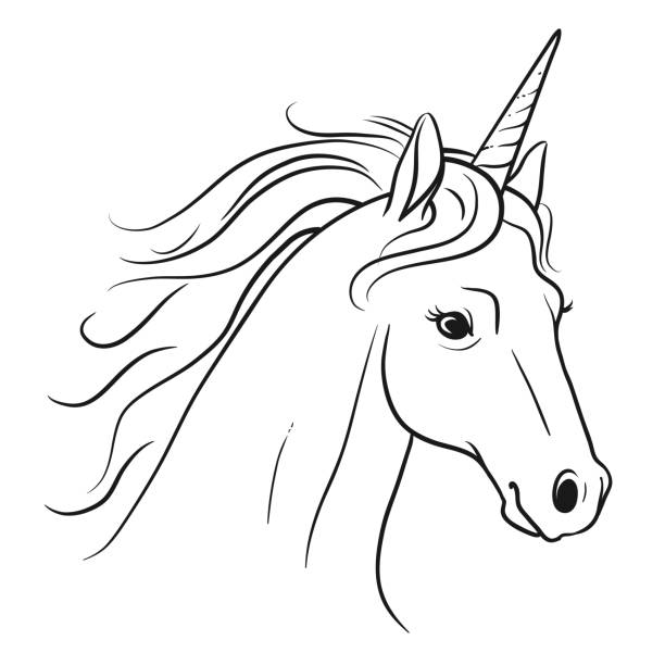 unicorn head with flowing mane hand drawn black and white pen and ink style line drawing illustration. fantasy mythical creature, fairy tales, dreams, hope. believe in yourself concept. - unicorn line drawings stock illustrations, clip art, cartoons, & icons
