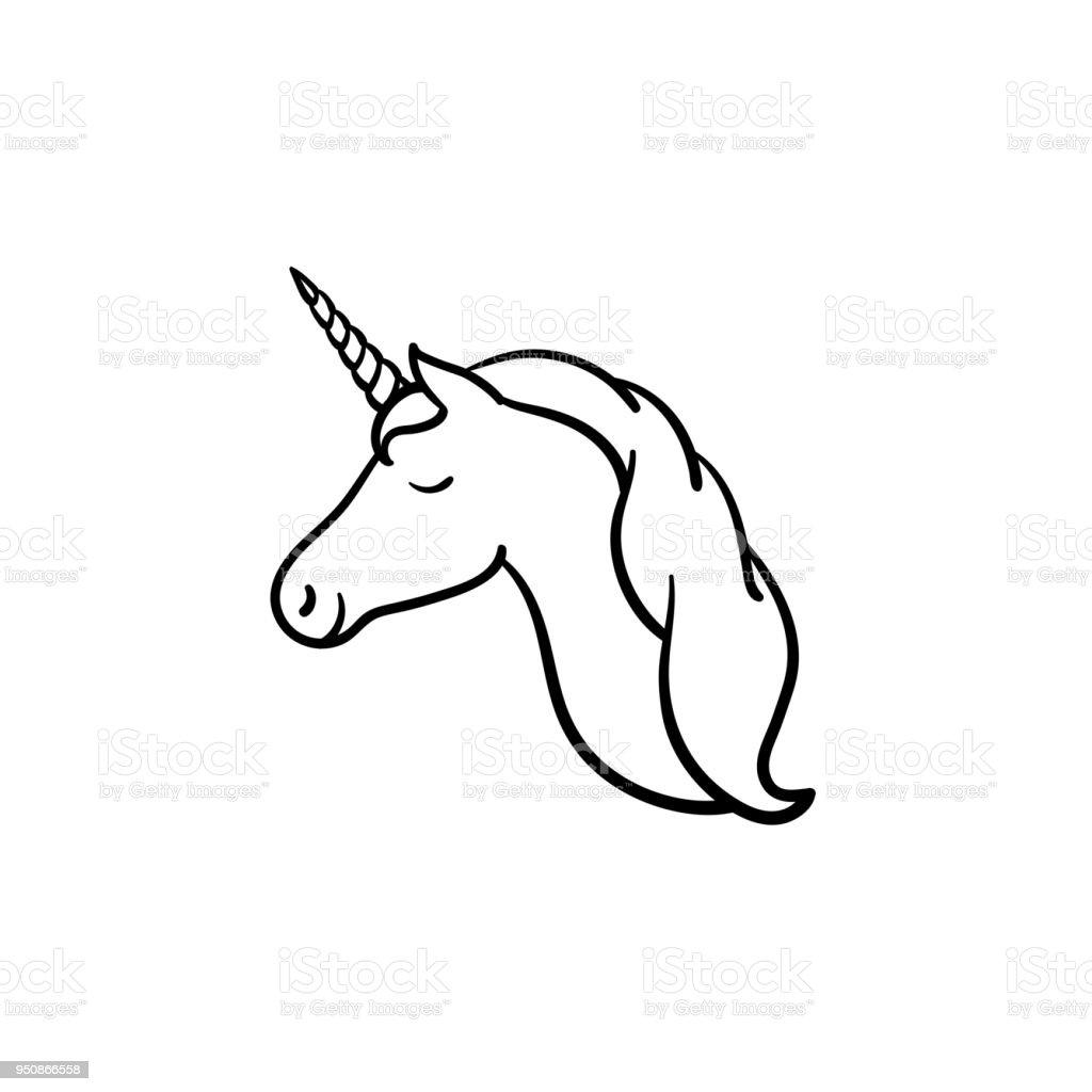 einhornkopf mit handsymbol gezeichnete skizze horn stock