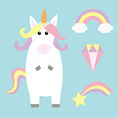 Unicorn holding rainbow cloud comet meteor shooting falling star diamond brilliant set. Kawaii face. Pastel color. Flat lay design. Cute cartoon baby character. Funny horse. Love card Blue background