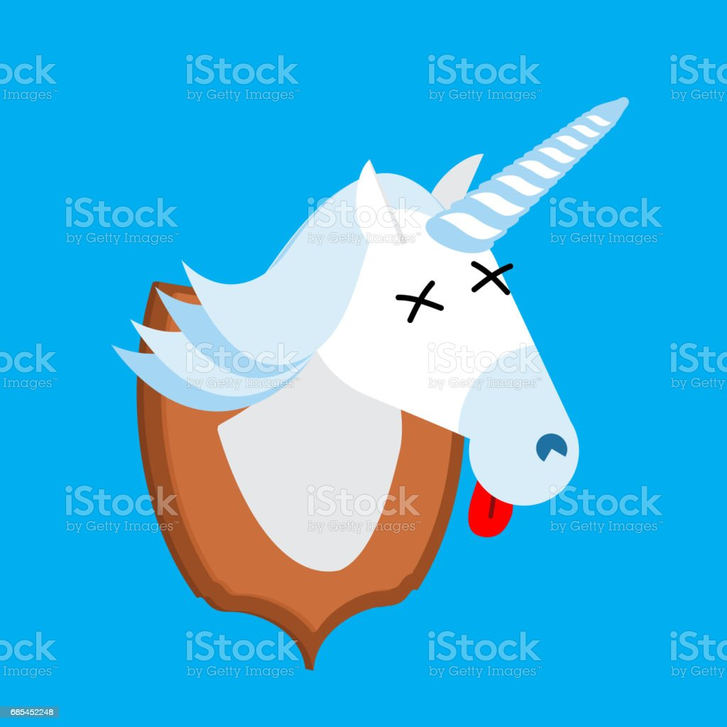 Unicorn hunter trophy. Head is fantastic animal with  horn on shield. Scarecrow magic beast unicorn hunter trophy head is fantastic animal with horn on shield scarecrow magic beast - arte vetorial de stock e mais imagens de agricultura royalty-free