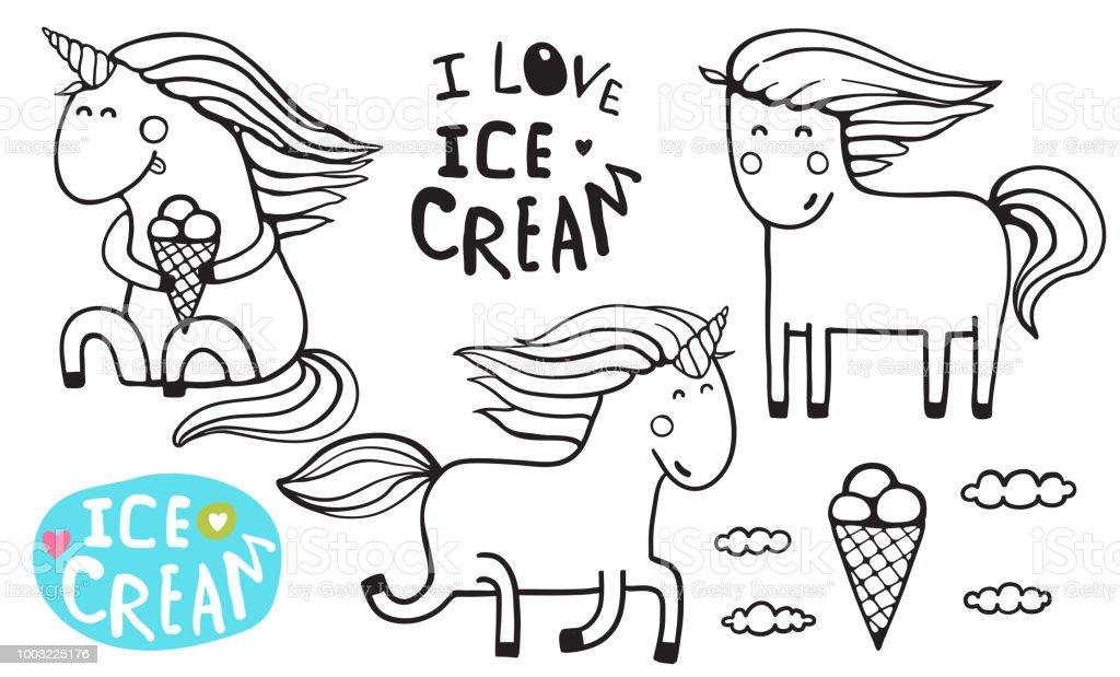 Ilustración de Página De Para Colorear De Unicornio Ice Cream ...