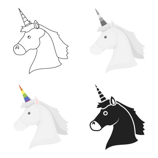 unicorn icon cartoon. single gay icon from the big minority, homosexual cartoon. - minority stock illustrations, clip art, cartoons, & icons
