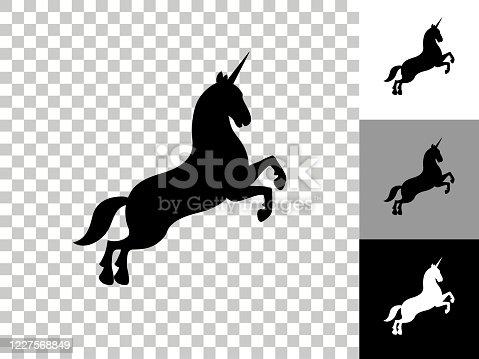 istock Unicorn Icon on Checkerboard Transparent Background 1227568849
