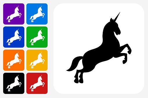 Unicorn Icon Square Button Set
