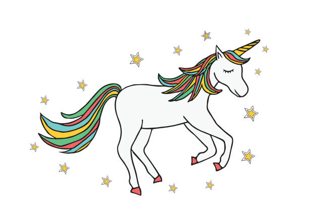 unicorn in vector - unicorn line drawings stock illustrations, clip art, cartoons, & icons