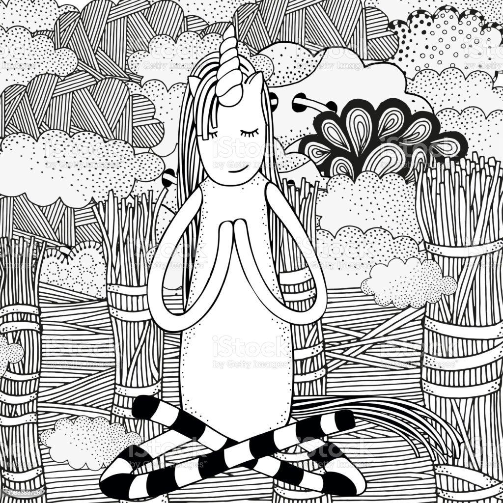 Einhorn In Einfachen Yogapose Malvorlagen Buch Alten Rustikalen