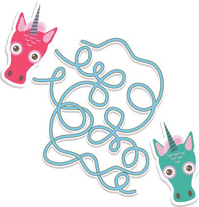 Unicorn labyrinth game for Preschool Children. Vector