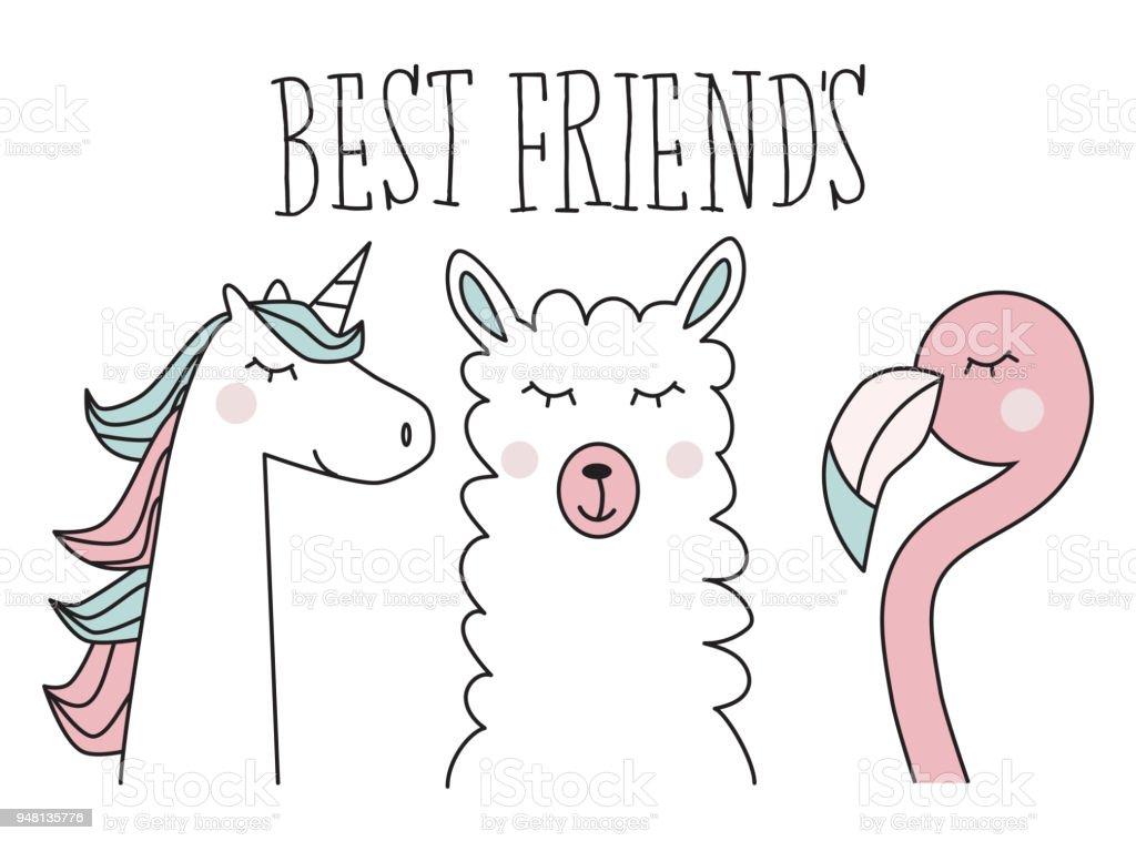 Einhorn Lama Und Flamingo Bester Freund Illustration Stock Vektor ...