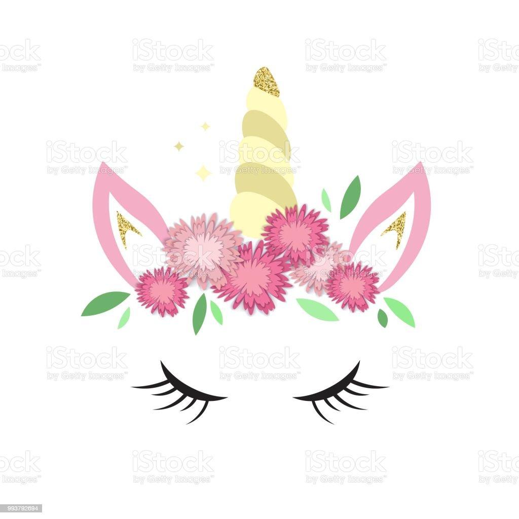Vetor De Logotipo De Unicórnio Com Chifre Orelhas E Flores E Mais