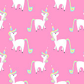 Unicorn magical animal seamless pattern vector illustration background for baby and children fashion textile print.