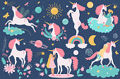 Unicorn magical fantasy animal and little girl, cute cartoon characters vector illustration. Fairytale creature, night sky icons in flat style. Friendship of girl and unicorn, childish romantic dream