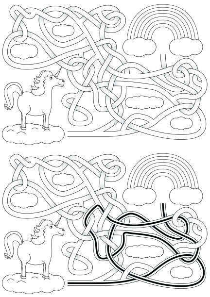 Labirinto de unicórnio - ilustração de arte em vetor
