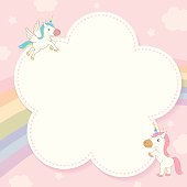 Illustration vector of cute unicorn decorated with rainbow and pink pastel sky background design for memo notepad template.