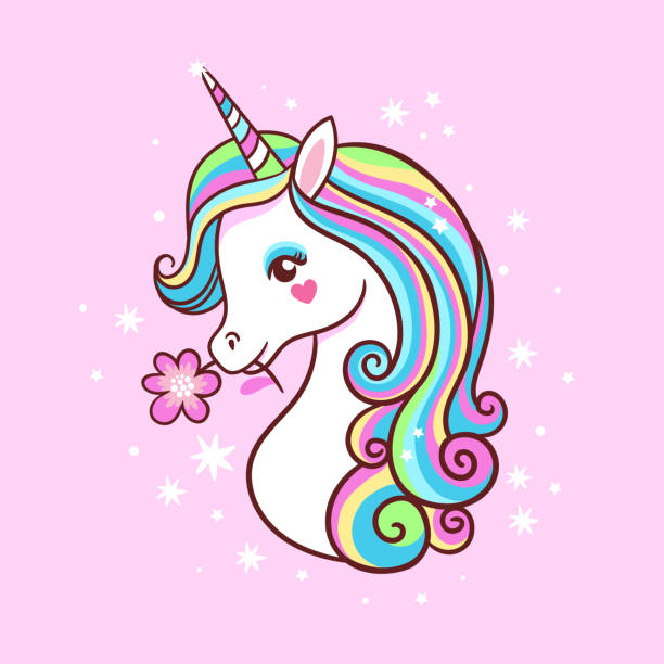 Unicorn on a pink background with stars. Postcard with milvm. Unicorn on a pink background with stars. Postcard with milvm mythical animals. unicorns stock illustrations
