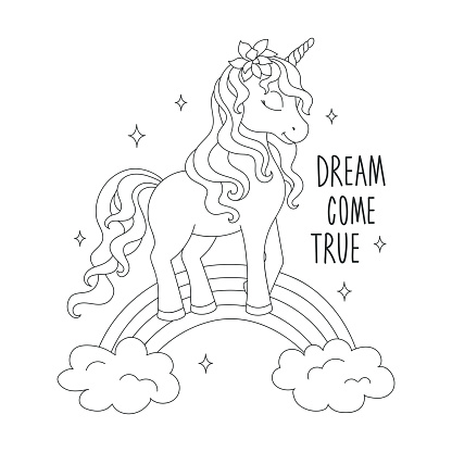 Unicorn On A Rainbow Coloring Pages Dream Come True Text Design For Kids Fashion Illustration Drawing In Modern Style For Clothes Stock Illustration Download Image Now Istock