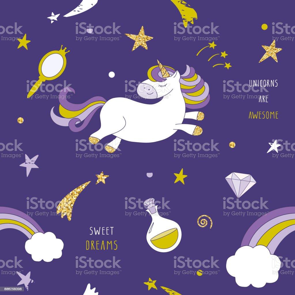 Ilustración de Unicornio En El Patrón Transparente Cielo De Noche ...