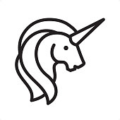 Unicorn - Outline Icon - Pixel Perfect