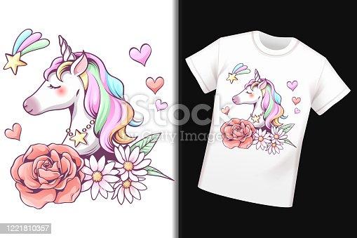 Unicorn pattern on T-shirt