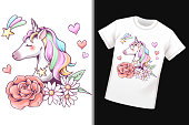 Unicorn, flower, heart, star and rainbow pattern on white T-shirt, logo, mascot and sticker, cute character cartoon, vector illustration