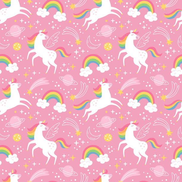 Unicorn pattern. Vector seamless pattern with white unicorns, rainbow and stars. Isolated on a pink background. unicorn stock illustrations
