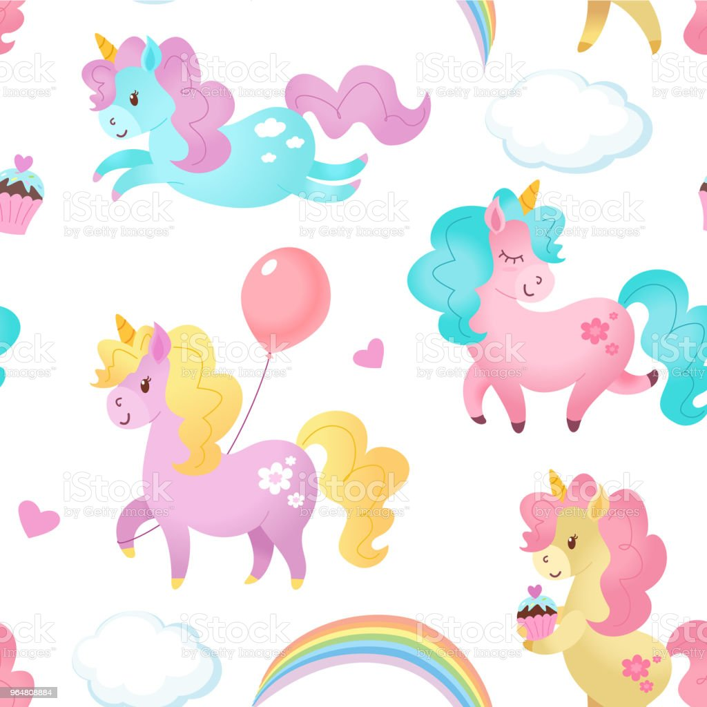Unicorn pattern. Vector seamless texture. royalty-free unicorn pattern vector seamless texture stock vector art & more images of animal