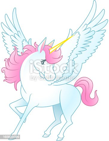 istock Unicorn Pegasus with opened wings and yellow horn 165609599