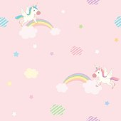 Cute unicorn flying on pink sky decorated with rainbow cloud and star design for seamless pattern.