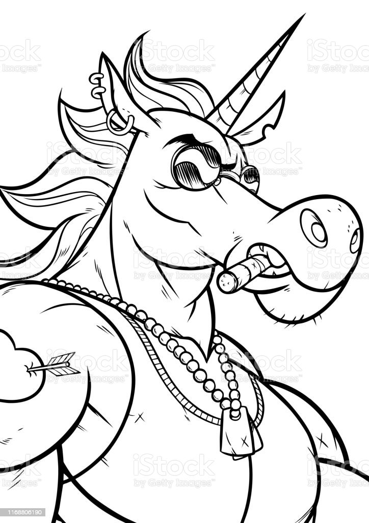 Cartoon portrait of unicorn soldier character in black and white for...