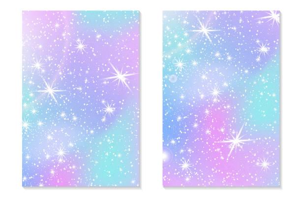 unicorn rainbow background. holographic sky - rainbow glitter background stock illustrations