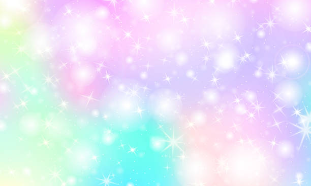 Unicorn rainbow background. Holographic sky Unicorn rainbow background. Kawaii colorful backdrop with rainbow mesh. Holographic sky in pastel color. Bright mermaid pattern in princess colors. Vector illustration. baby girls stock illustrations