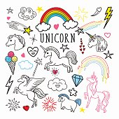 Unicorn Rainbow Magic Freehand Doodle. Stickers and Patches Isolated on White Background. Vector illustration