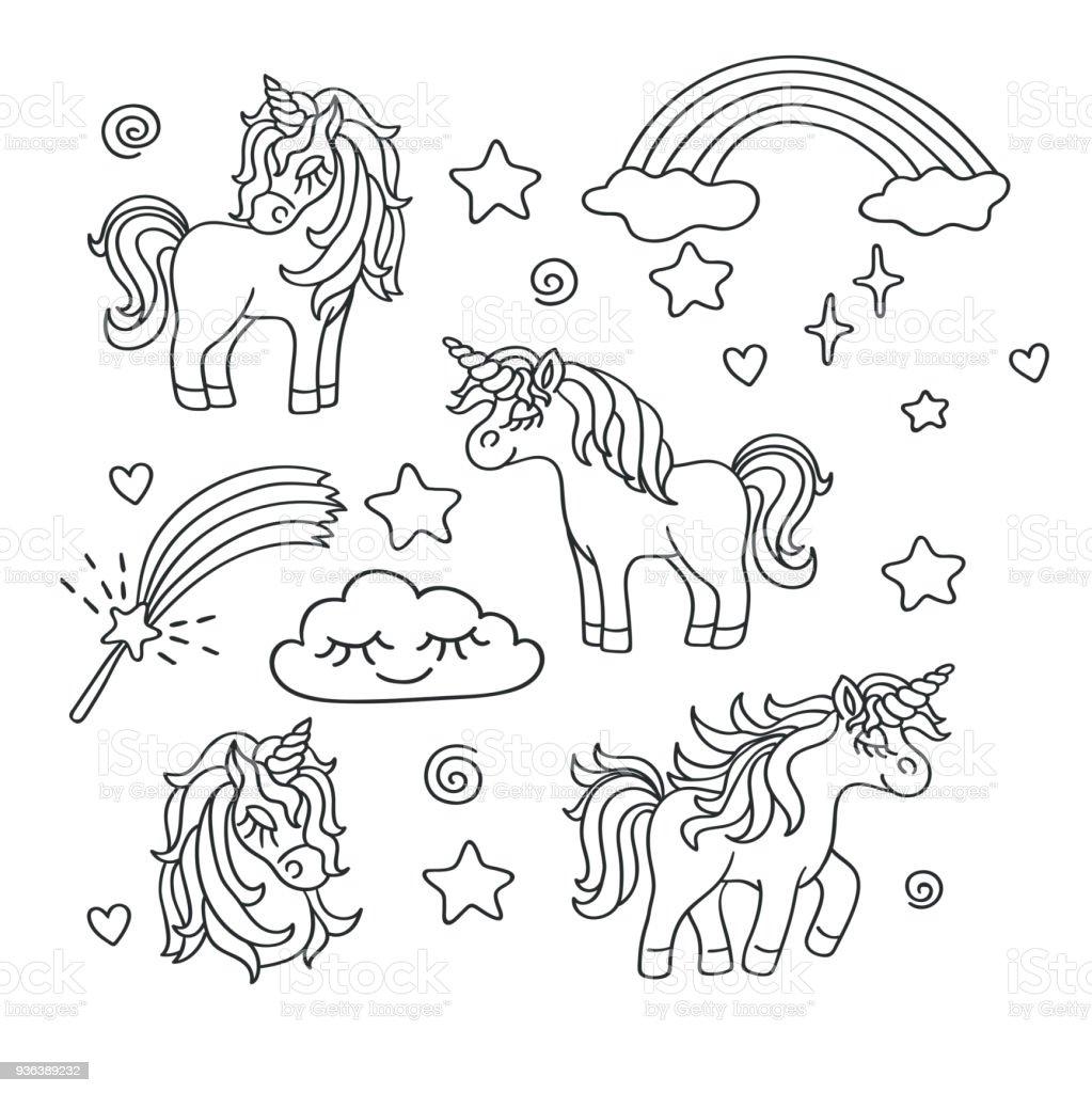 Unicorn Rainbow Magic Wand Vector Sketch Set Stock Vector Art & More ...